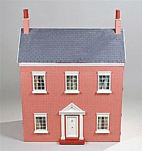 Dolls house and contents, the red brick effect house with grey roof, togeth
