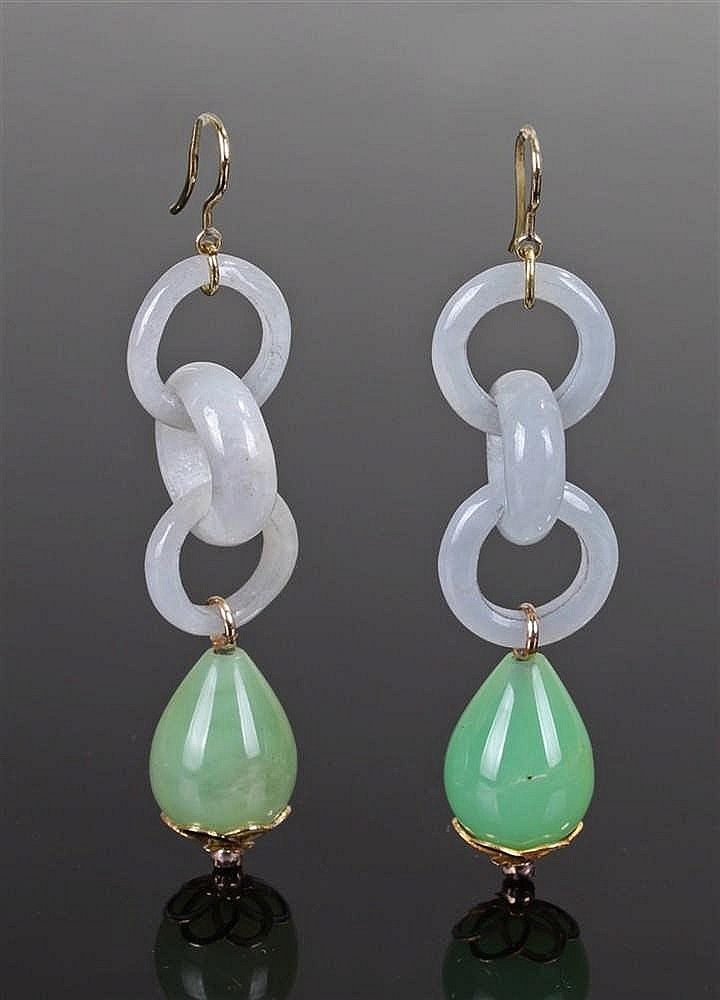 Pair of jade and ruby earrings, the celadon jade loops with jade drops and