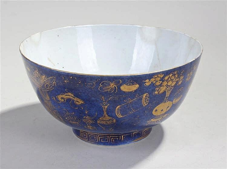 18th Century Chinese powder blue porcelain  bowl, the exterior decorated wi