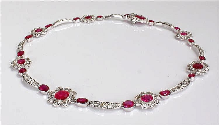 Striking Burmese ruby and diamond necklace, with diamond set arched beams a