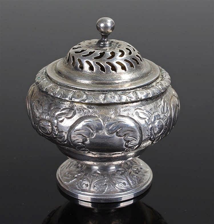 George III silver pepper, London 1817, maker James Beattie, the pierced top