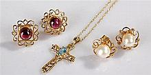 9 carat gold cross, with chain attached, together with a pearl set of earri
