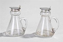 Two Whisky noggins, with silver lid and clover leaf knob. Birmingham 1928