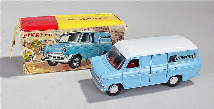 Dinky 407 Ford Transit Van, in blue with Kenwood sticker, boxed