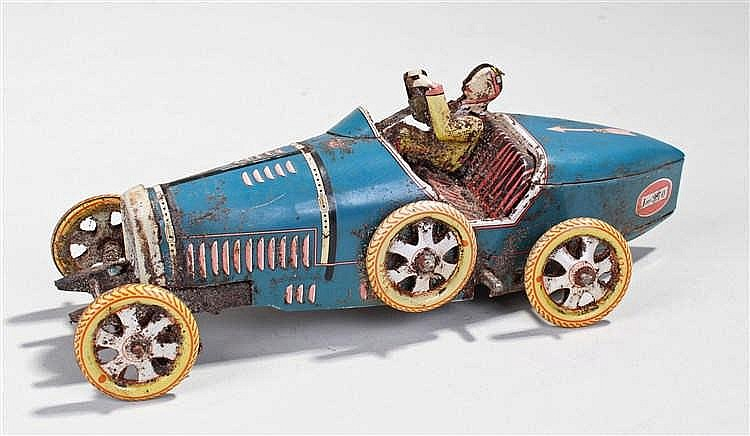 Tin plate car, the Bugatti racing car in blue; numbered 1-970, 19cm long