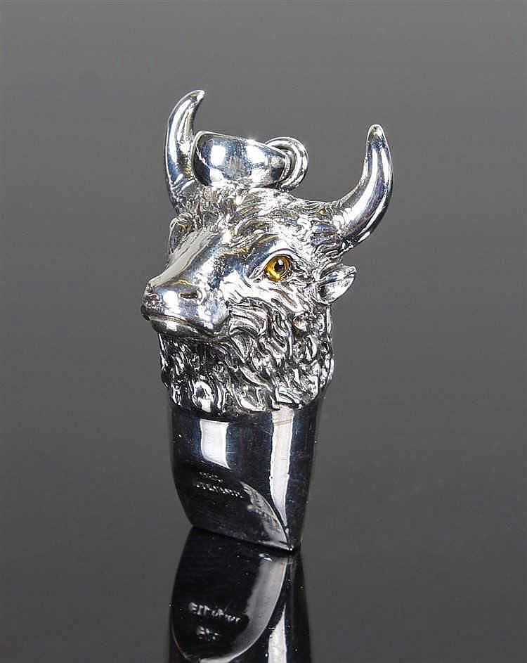 Silver whistle in the form of a Bull head