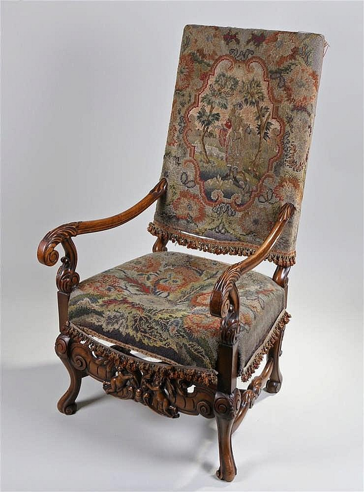 17th Century style armchair, with tapestry back and seat, scroll carved arm