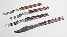 19th Century Kodzuko handled forks and a knife, the bronze handles decorate