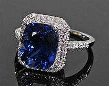David Jerome Collection kyanite and diamond ring, the central mixed cut sto