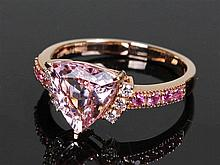 David Jerome Collection pink morganite and diamond ring, the central trilli