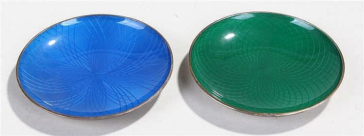 Pair of Norwegian Sterling silver and enamel dishes, by J. Tostrup, Oslo, t
