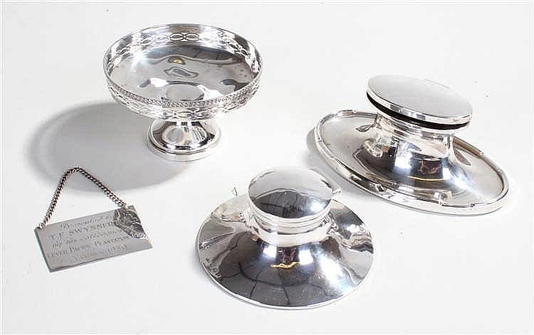 Two silver inkwells, a silver bonbon dish with pierced decoration and a sil
