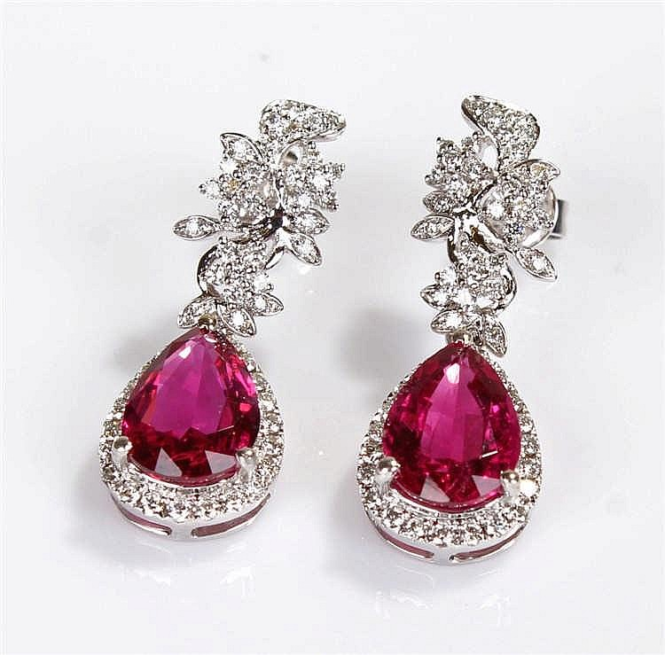 David Jerome Collection rubelite tourmaline and diamond earrings, the facet