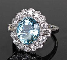 David Jerome Collection Brazilian aquamarine and diamond ring, the central