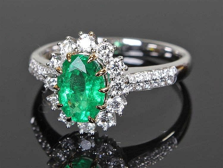 David Jerome Collection, Zambian emerald and diamond ring, the central oval