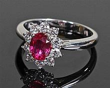 David Jerome Collection Mozambique ruby and diamond ring, the central oval