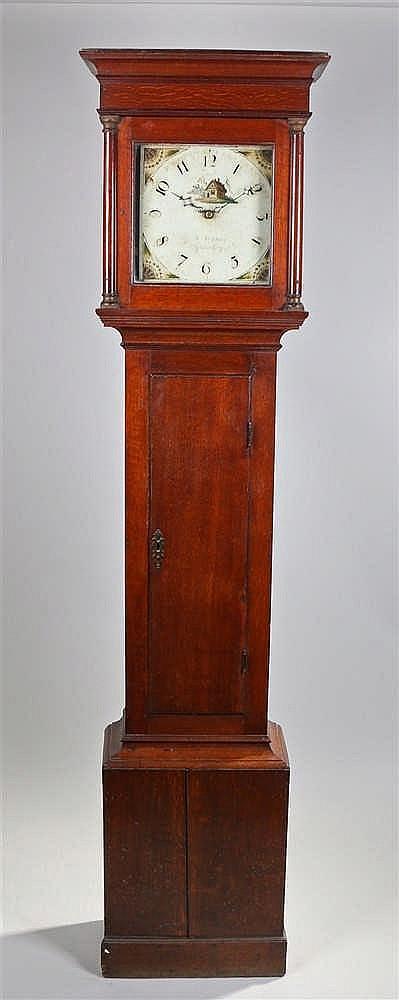 George III oak longcase clock, R Stedman Godalming the concave cornice abov
