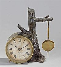 Ansonia novelty clock, the brass drum case with Roman hours to the dial, pa