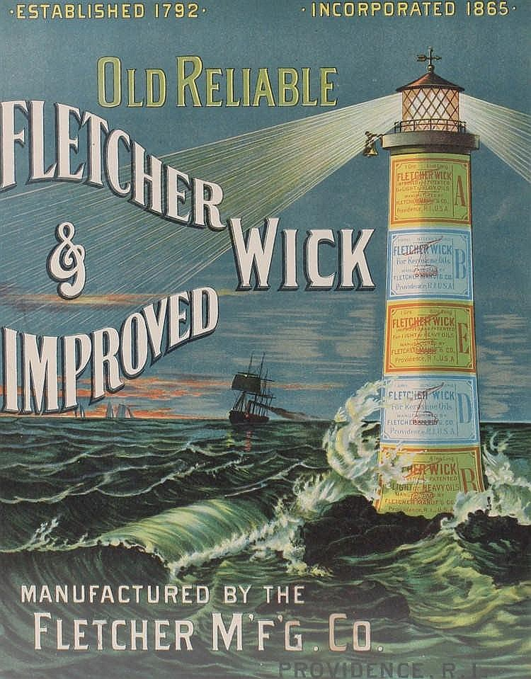 Old Reliable Fletcher & Wick poster, with a lighthouse in rough seas, 29cm