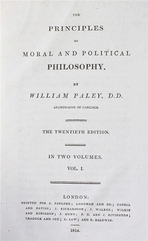 William Paley, Paley's Works,  A view of the Evidences of Christianity in t