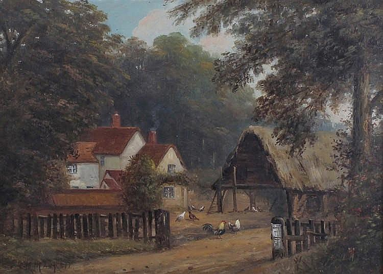 Christopher Maskell (1849-1933) cottage scene with barn and chickens, signe