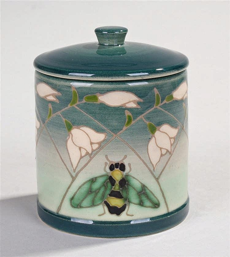 Sally Tuffin for Dennis China Works, cylindrical lidded jar decorated in gr