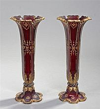 Pair of 19th Century cranberry glass vases, with gilt acanthus leaf and scr