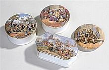 19th Century pot lids, to include Hide & Seek, with the base, The Village W