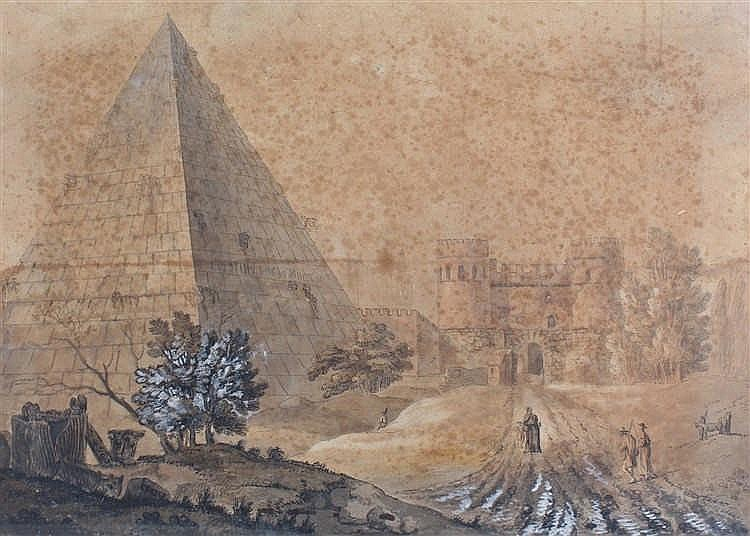 18th Century school, Cestius Pyramid, pen and ink with wash, 56cm x 40cm