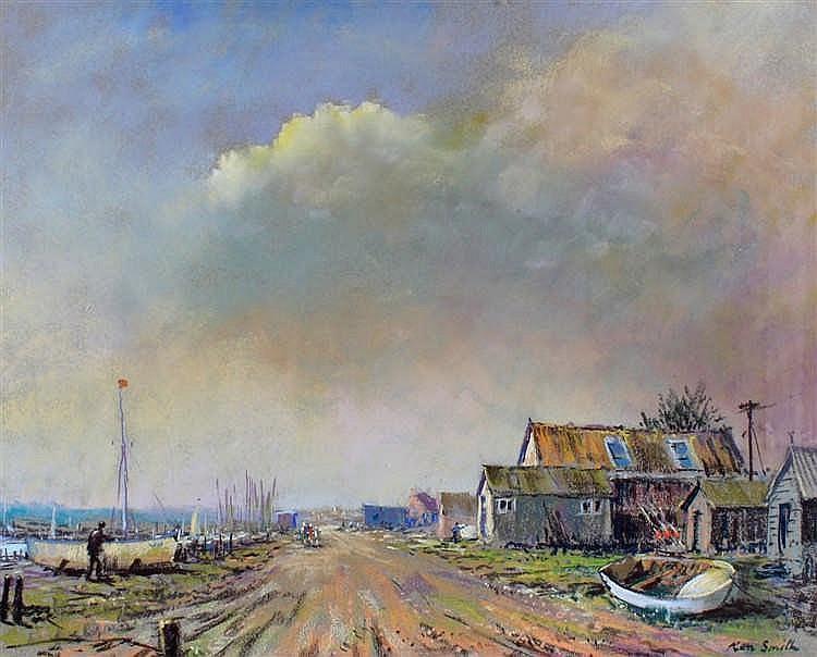 Ken Smith, Walberswick, signed pastel, 52cm x 41cm