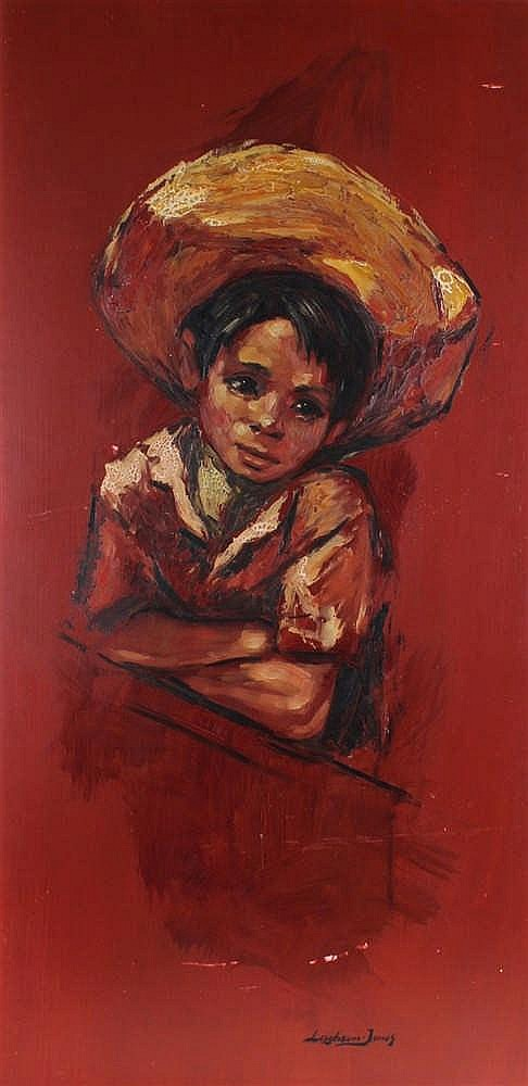 Brian Leighton Jones, a boy with red ground, signed oil on board, 45cm x 92
