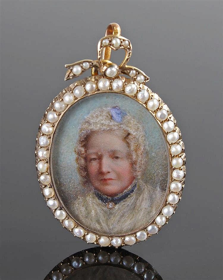19th Century portrait miniature, of an elderly lady, pearl set surround and