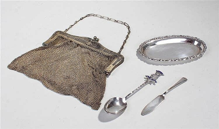 Collection of silver, to include a silver purse, a silver spoon, a silver b
