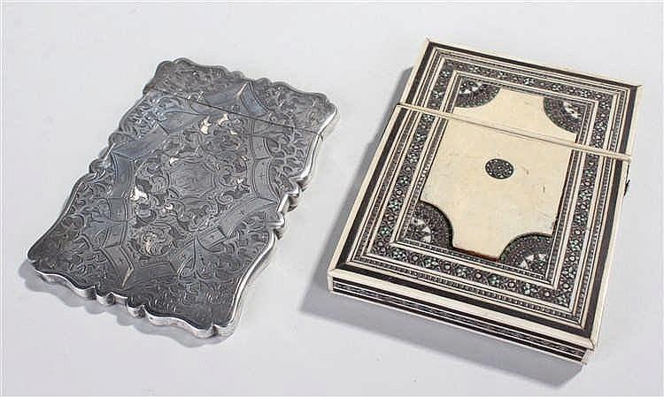 Victorian silver card case, Birmingham 1868, maker D & M, the foliate engra