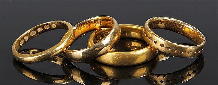 19th Century wedding bands, to include three 22 carat gold examples weighin