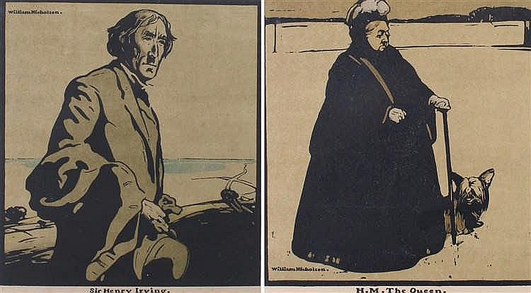 William Nicholson (1872-1949) H.M. The Queen and Sir Henry Irving, prints,