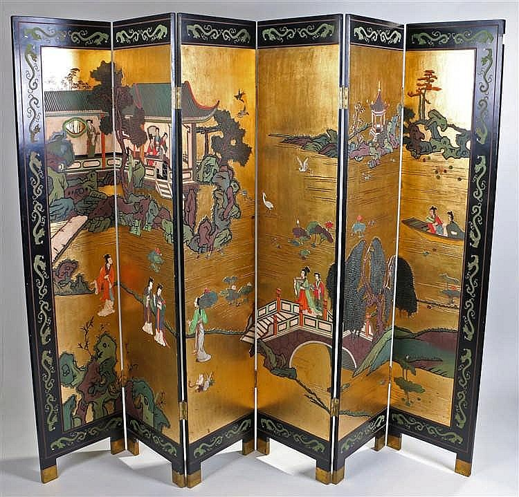 Japanese five fold screen, the obverse of the screen with a gilt heightened