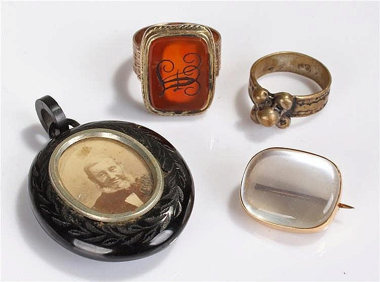 George III seal ring, the stone engraved AF, with wide shank, together with