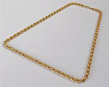 9 carat gold rope twist chain necklace, the twist chain with clip end, 15.9