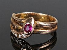 14 carat gold diamond and amethyst ring, the ring in the form of a snake wi