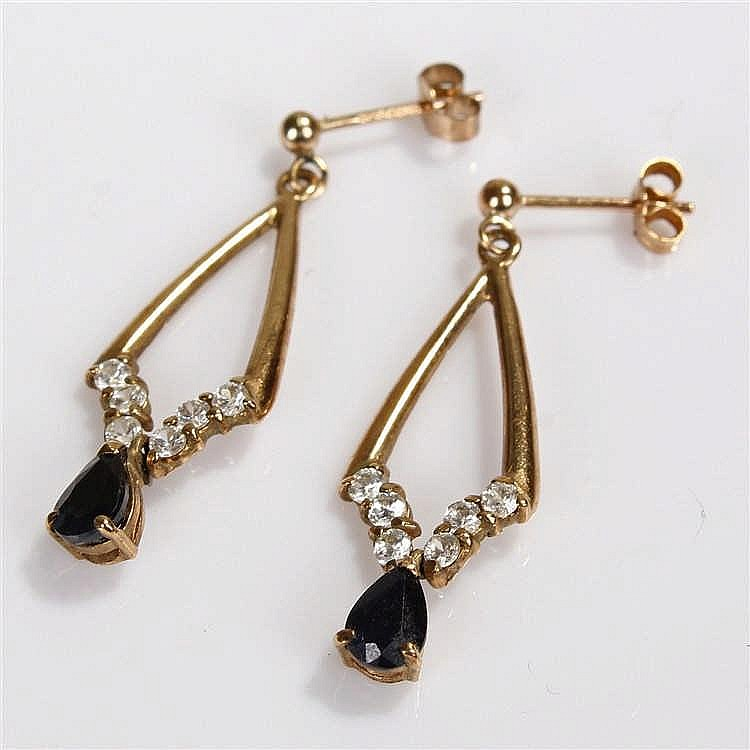 Pair of 9 carat gold sapphire set earrings, the triangular earrings with dr