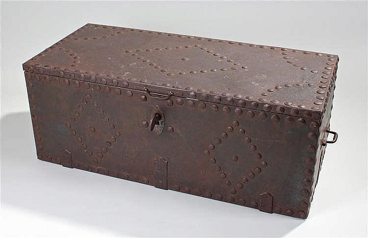 Unusual German 18th Century strong box, the stud and iron top encasing a pi