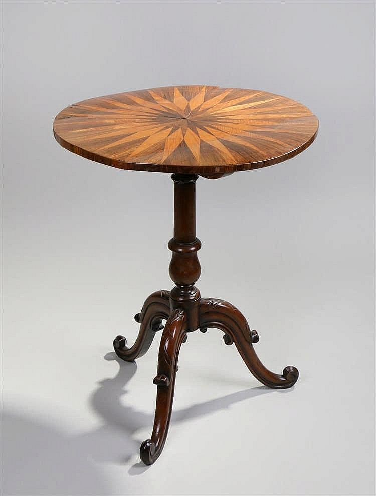 Victorian rosewood maple and mahogany occasional table, the circular top wi