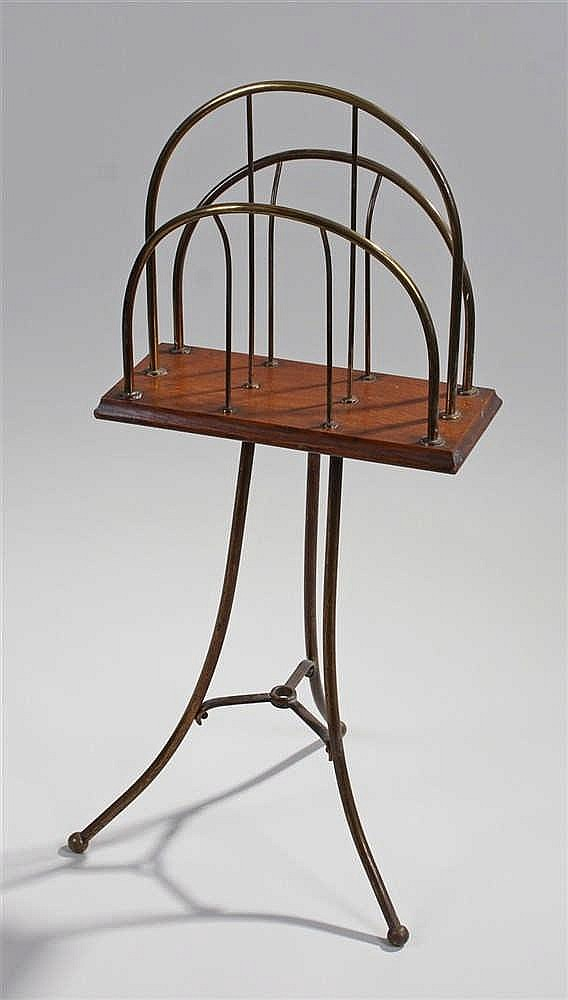 19th Century Music Stand, with three arched bars above a platform and brass