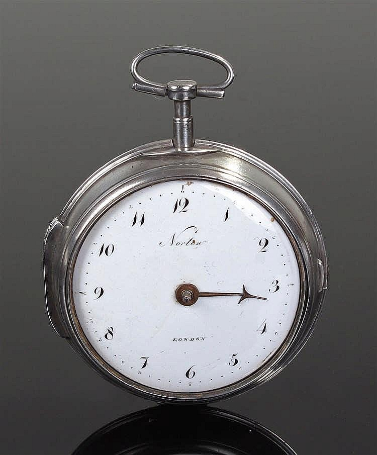 George III Norten pair case pocket watch,the white enamel signed dial Norte