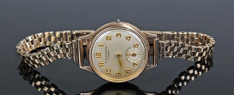 J.W. Benson 9 carat gold ladies wristwatch, the champagne coloured dial wit