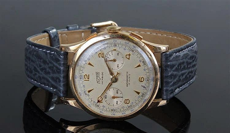 Nigedo Incabloc 18 carat gold gentleman's chronograph wristwatch, the champ