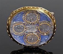 Stuart crystal ribbon slide, circa 1680, the rock crystal with internal geo