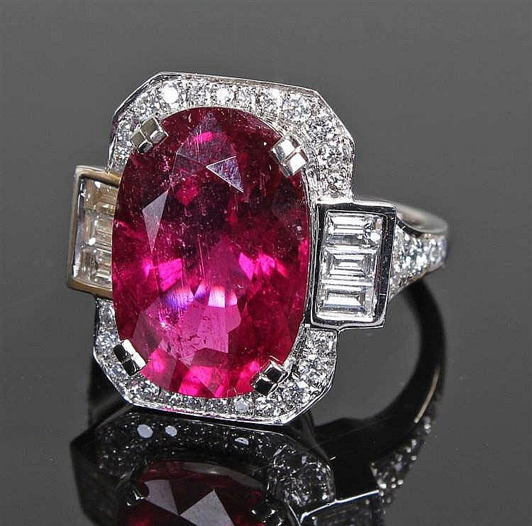 David Jerome Collection large rubellite tourmaline and diamond ring, the la