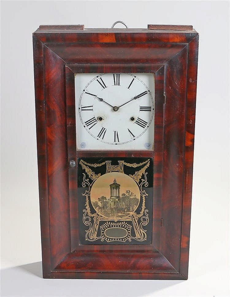 Jerome & Co American clock, the rectangular mahogany case with a glazed pic
